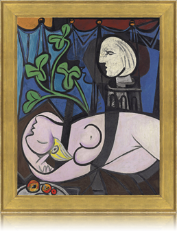 Picasso's Nude, Green Leaves and Bust with replica frame