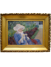 Frame containing Mary Cassatt's painting, Lydia Crocheting