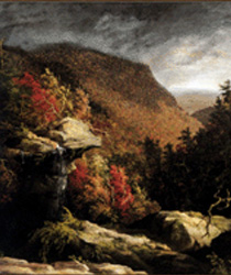 Close up of Thomas Cole's The Clove, Catskills painting