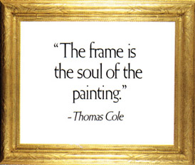 An American carved and gilded frame with quote, 'The frame is the soul of the painting.' - Thomas Cole