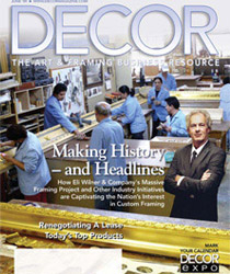 Cover of Decor magazine, The Art & Framing Business Resource