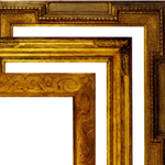 Gilded frame of 1870s shadow box, which features applied ornament, paired with the original incised wooden enclosure