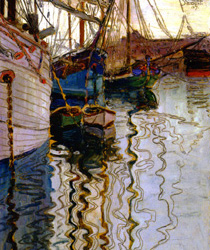 Harbour of Trieste painting