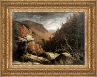 At the New Britain Museum of Art, Hudson River landscape paintings by Thomas Cole with historically appropriate replica frame