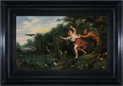 Peter Paul Rubens, Jan Brueghel the Younger - Landscape with Pan and Syrinx painting with frame