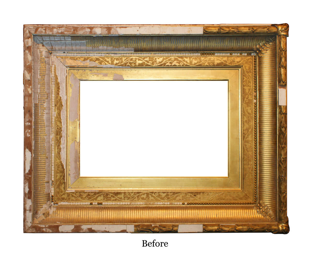 Eli wilner frame restoration services extensive damage of the samuel colman picture frame before restoration jeuxipadfo Images