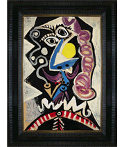 Picasso's Tete d'Homme painting and frame