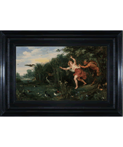 Landscape with Pan and Syrinx landscape painting and frame