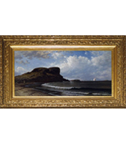 Alfred Bricher - Castle Rock, Nahant, Massachusetts painting with French-style reproduction frame