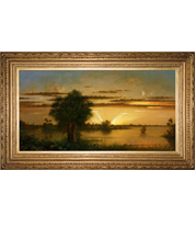 Martin Johnson Heade - Florida Sunrise painting with French-style reproduction frame