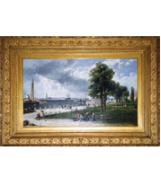 Andrew Melrose - New York Harbor and the Battery painting with French-style reproduction frame